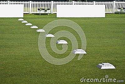 Fileira de esferas da prática, placas em branco do Signage