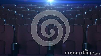 Fileiras de cadeiras vermelhas no salão do cinema com luz de piscamento do projetor de filme no fundo animação 3d de assentos ver video estoque