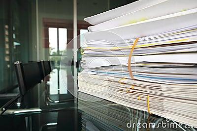 Files on meeting room desk