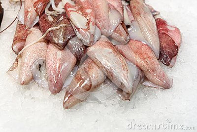Filet of fish on ice at market