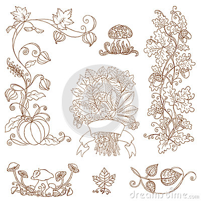 Filiali decorative di autunno - per l album per ritagli