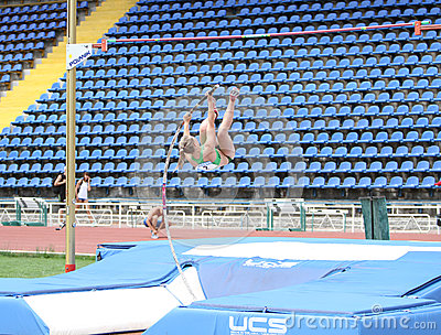Filina Viktoria competes in pole vault competition Editorial Image