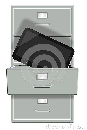 Filing Cabinet And Computer Tablet Stock Photo Image