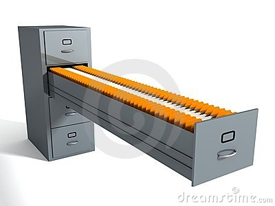 Filing cabinet with many file folders on white