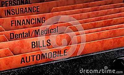 Filing folders for bills