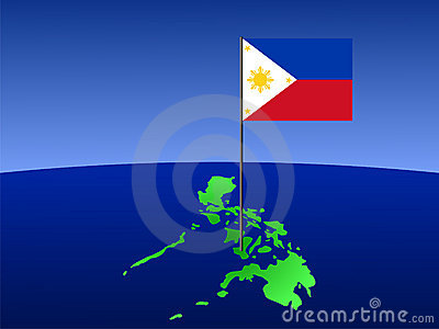 Filipino flag on map