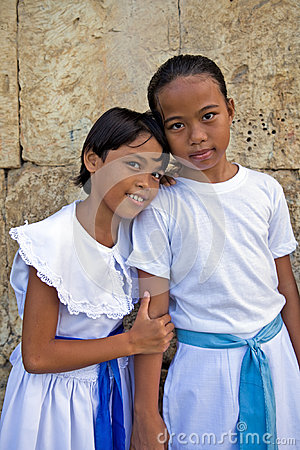 Philippines - Two Young Girls Editorial Stock Image