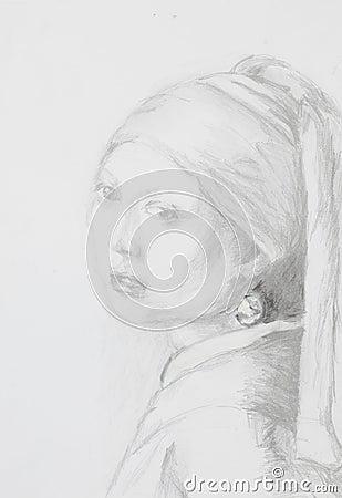 Fille avec une affiche de boucle d'oreille perle