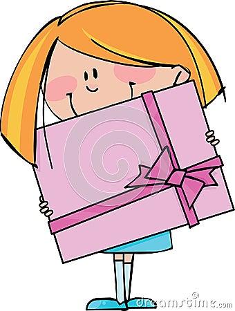 Fille avec le cadeau