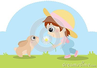 Fille avec le lapin