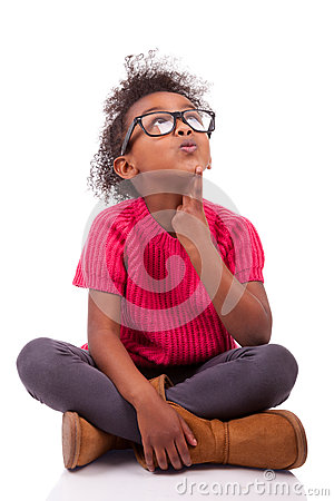 Fille d Afro-américain enfoncée sur l étage