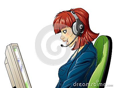 Fille de centre d attention téléphonique