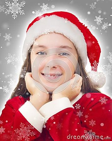 Fille de Noël heureux