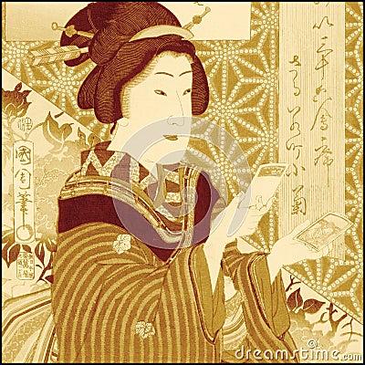 Fille japonaise traditionnelle de geisha