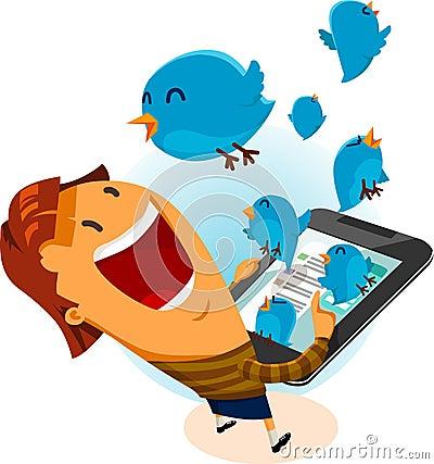 Fille sur l oiseau de Twitter Image éditorial