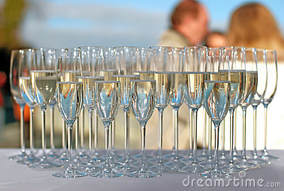 Filled Champagne Glasses On A Cocktail Party Stock Photo - Image: 12850920