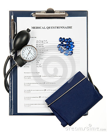 Filled in medical questionnaire with sphygmomanometer