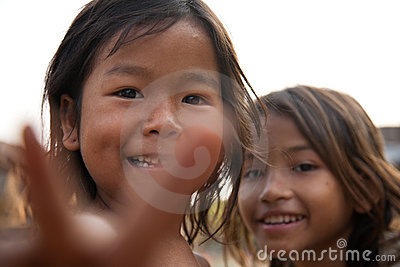 Filles cambodgiennes Photo stock éditorial