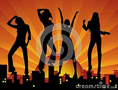 Filles de danse sur la ville