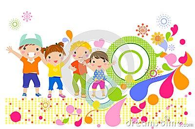 Filles et garçons heureux