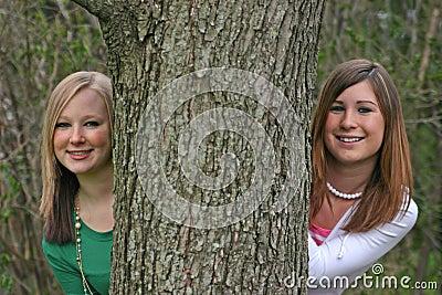Filles jetant un coup d oeil autour d un arbre