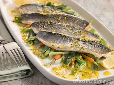 Fillets of Sea bass with Baby Vegetables