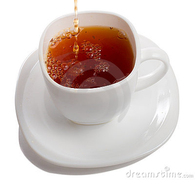 Filling cup of rooibos tea