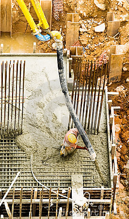Filling a Foundation with Concrete