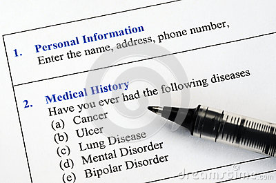 Filling the patient medical history questionnaire