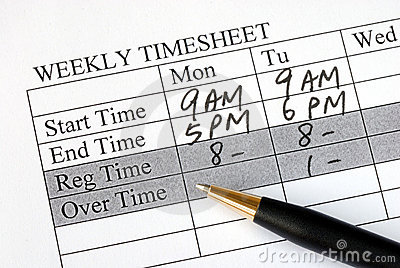 Filling the weekly time sheet