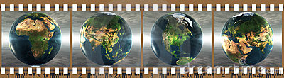 Film with 4 images of the earth