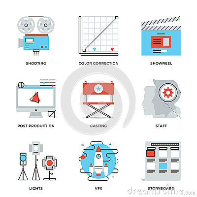Free Film And Video Production Line Icons Set Royalty Free Stock Photos - 50249218
