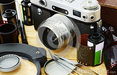 Film camera and accessories.