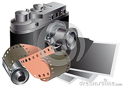 Film camera, film, pictures.