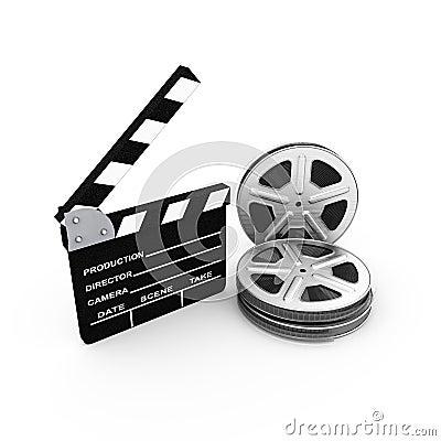 Film and clap board. cinema. 3d