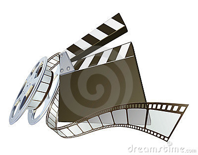 Film clapperboard and movie film reel