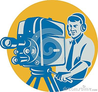 Film Crew TV Cameraman Movie Camera