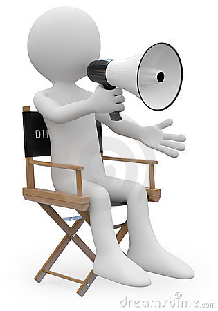 Film director sitting in a chair with a megaphone