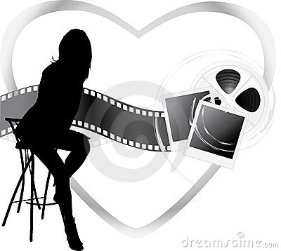 Film objects and silhouette of sitting woman