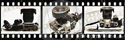 Film with old camera with textures