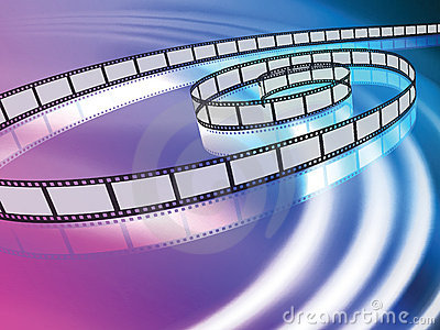 Film Reel on Abstract Liquid Wave Background