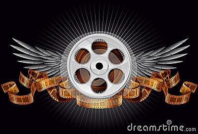 Film reel with wings