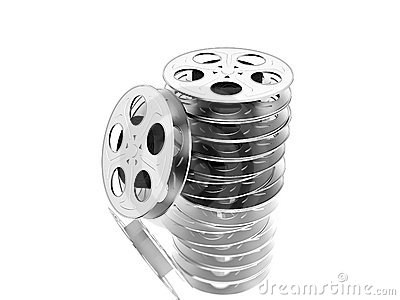 Film reels over white