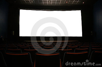 Film screen in dark cinema