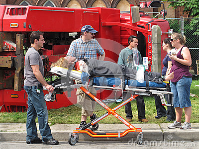 Film shoot location of an accident scene. Editorial Stock Photo