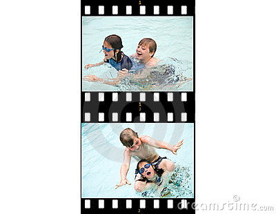 Film Strip Action Kids Swimming