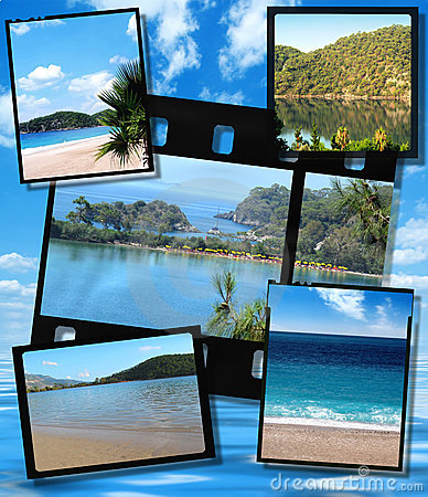 Free Film Strip And Film Plates,  Blue Lagoon Image Royalty Free Stock Images - 15678729