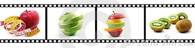 Film strip with fruit collection