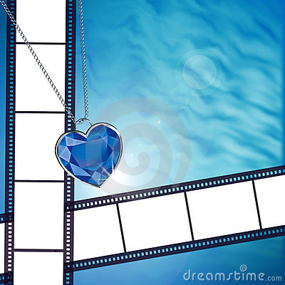Film sur le fond avec le coeur bleu de diamant