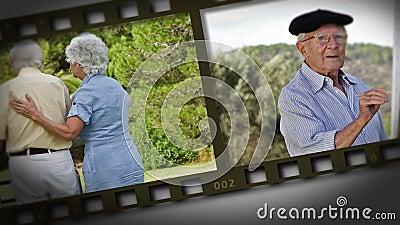 Filmstrip пожилых пар в парке сток-видео